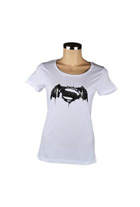 Batman V Superman Beyaz Kadın T-Shirt Small