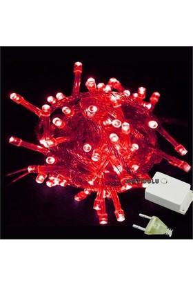 Pandoli Beyaz Kablolu 100 Ampüllü Led Işık Kırmızı Renk 10 Metre