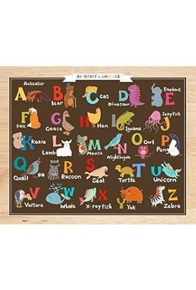 Pintoo 80 Parça Çocuk Puzzle Alfabe Ve Hayvanlar (Alfabeyi Öğreniyorum 31,8 X 25,5 Cm)