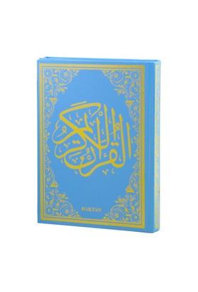Kur'An-I Kerim Renkli Gül Desenli, Mavi Cilt (Rahle Boy-Sesli)