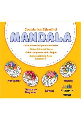 Çocuklar İçin Eğlendirici Mandala Serisi (4 Kitap) (12'Li Boya Kalemi Hediyeli)-Kolektif