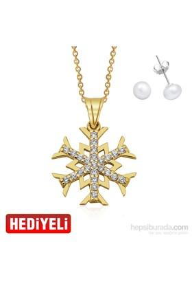 AltınSepeti Altın Kar Tanesi Kolye Gümüş İnci Küpe Hediyeli AS20131KL