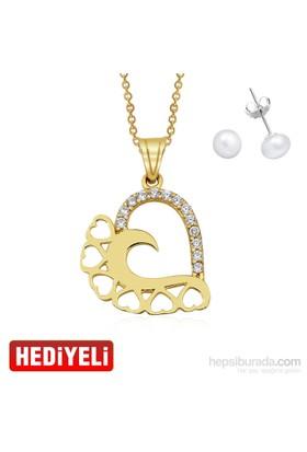 AltınSepeti Altın Kalp Kolye AS20132KL - İnci Küpe Hediyeli