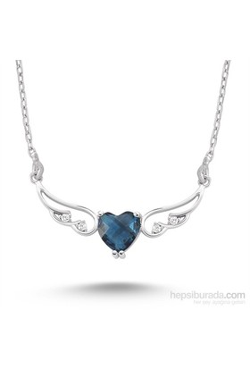 Silver & Silver Mavi Kalp Melek Zirkon Taşlı Kolye - TKSSHB00205