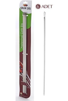 Gönen Çelik Çelik Şiş Paslanmaz Çelik Kebap Şişleri 6 Adet (Kuşbaşı Şiş)