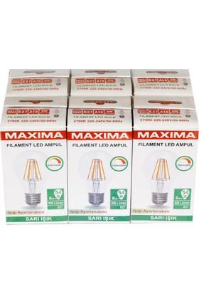 Maxıma 6W Filament Led Ampul Dimmerli - E27 Sarı Işık 6'Lı Paket