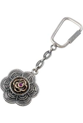 Akyüz Gümüş Papatya Modeli Telkari Gümüş Anahtarlık
