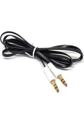 Dualpazar Slim Flat Stereo Aux Ses Kablosu 1 Metre 3.5mm Telefon ve Tablet Uyumlu