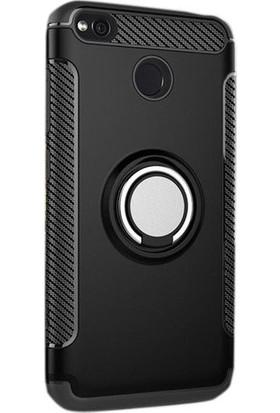 Case 4U Xiaomi Redmi 4X Kılıf Yüzüklü Standlı Darbe Emici + Cam Ekran Koruyucu Siyah