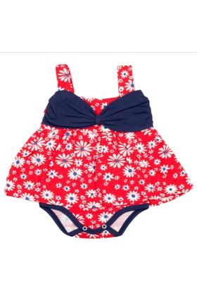 Gülücük Kırmızı Çiçekli Askılı Kız Bebek Zıbın Elbise Body 12 - 18 Ay