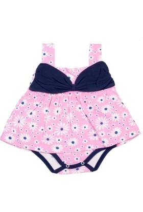 Gülücük Pembe Çiçekli Askılı Kız Bebek Zıbın Elbise Body 3 - 6 Ay