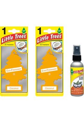 Car Freshener Little Trees Kağıt Koku Hindistan Cevizi 2 Adet + Sprey Koku Hediyeli