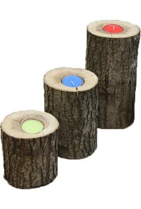 2E Ahşap Ahşap 3'Lü Kütük Mumluk Seti / %100 Doğal Ağaç