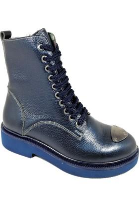 Nemesis Shoes Bayan Bot Lacivert Deri