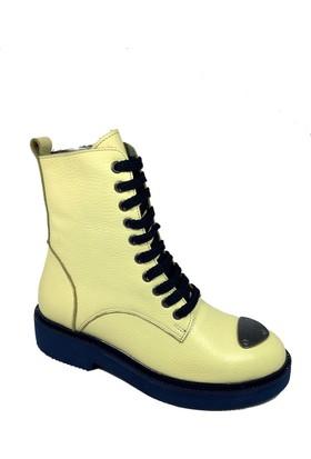Nemesis Shoes Bayan Bot Sarı Deri