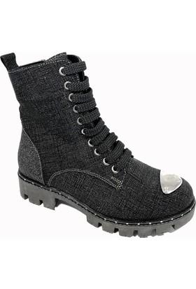 Nemesis Shoes Bayan Bot Siyah Simli Deri