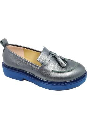 Nemesis Shoes Bayan Ayakkabı Antrasit Deri