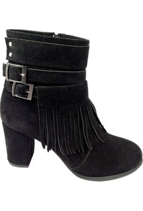 Nemesis Shoes Bayan Bot Siyah Cilt Süet