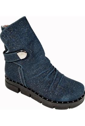 Nemesis Shoes Bayan Bot Lacivert Simli Deri