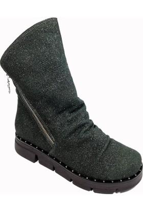 Nemesis Shoes Bayan Bot Yeşil Simli Deri