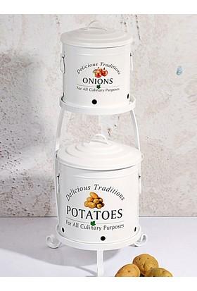 Kıtchen Love Ferforje katlı standlı patates&soğan kovası