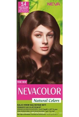 Nevacolor Natural Colors Kalıcı Saç Boya Seti 5.4 Açık Kestane