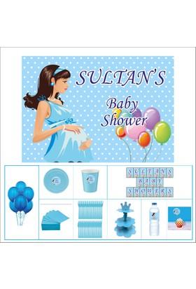 Baby Shower Çocuk Seti Erkek çocuğu Standart 20 kişilik Parti Çocuk