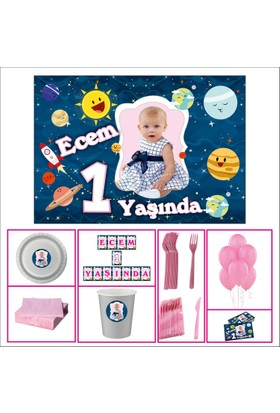 Uzay Kız Çocuğu 1 Yaş Doğum Günü Özel Set 20 Kişilik
