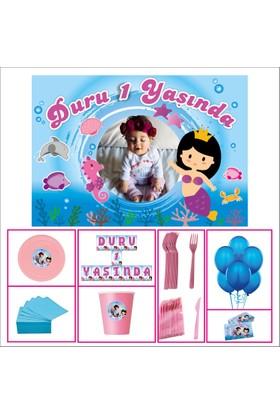 Kız Çocuğu 1 Yaş Doğum Günü Deniz Kızı Standart Set 14 Kişilik