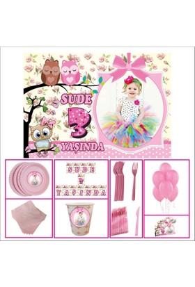 Doğum Günü Standart Set 3 Yaş Kız Çocuğu Pembe 40 Kişilik