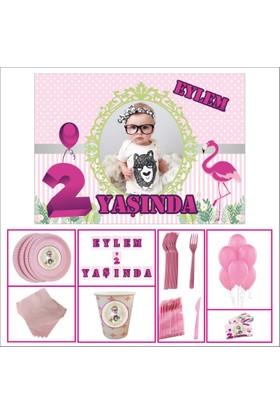 Doğum Günü Standart Set 2 Yaş Kız Çocuğu Pembe 14 Kişilik Parti Çocuk