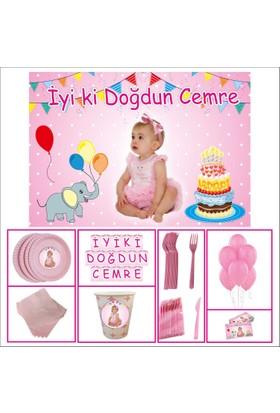 Parti Çocuk Doğum Günü 1 Yaş Özel Set Kız Çocuğu Pembe 30 Kişilik