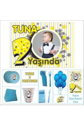 Parti Çocuk Doğum Günü 2 Yaş Süprizli Set Mavi Erkek 14 Kişilik