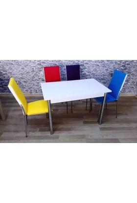 Kutuphome Masa Sandalye Takımı Renkli