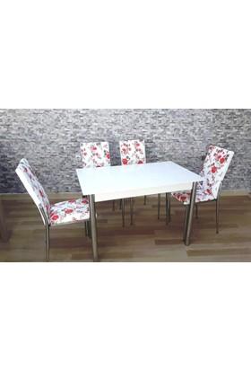 Kutuphome Masa Sandalye Takımı Gözde Kırmızı Çiçek