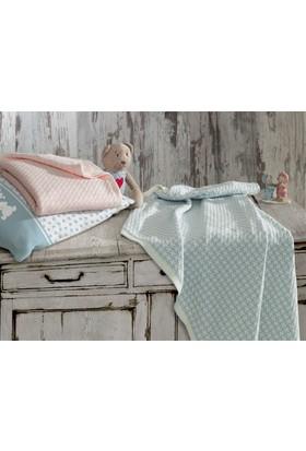 Ecocotton Organik Pamuk Bebek Örgü Battaniye Baby Dream-Mavi