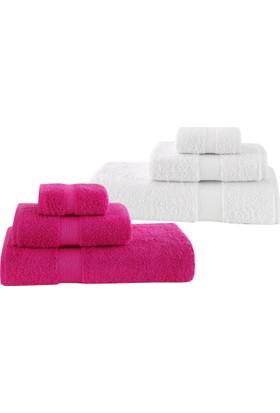 Z&R HOME Pamuk 2'li Banyo Havlu Seti Select Beyaz - Fuşya