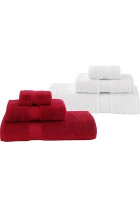 Z&R HOME Pamuk 2'li Banyo Havlu Seti Select Beyaz - Kırmızı