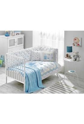 Taç Battaniyeli Bebek Uyku Seti Sweet Farm Mavi