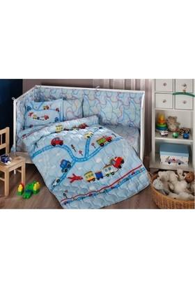 Taç Battaniyeli Bebek Uyku Seti Little Cars