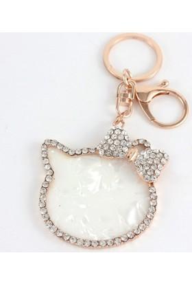Hane14 Fiyonklu Hello Kitty Taşlı Anahtarlık Rose