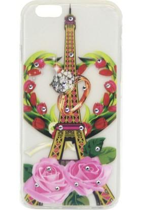 Ebox iPhone 6G Kabartma Taşlı Eyfel Kulesi Tasarımlı Silikon Kılıf
