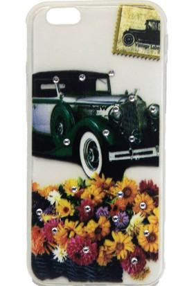 Ebox iPhone 6G Kabartma Taşlı Nostaljik Araba Tasarımlı Silikon Kılıf