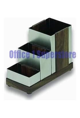Office Filter 483 Kalemlik Köşeli Paslanmaz 3 Gözlü Metal Perforeli 150X110 Mm