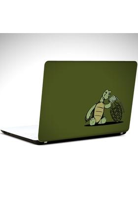 Dekolata Kablumbağa ve El Bombası Laptop Sticker Boyut LAPTOP 19 inch (40,5X27)