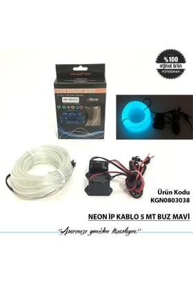 Neon İp Kablo 5 Mt Buz Mavi