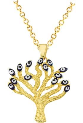 By Roma Gold Altın Nazarlı Gözlü Hayat Ağacı Kolye
