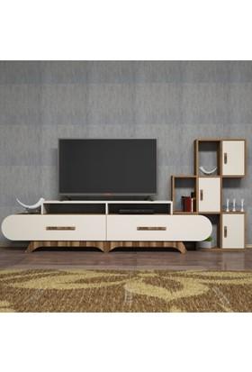 Variant Concept Flora Duvar Raflı Tv Ünitesi Ceviz - Ekru