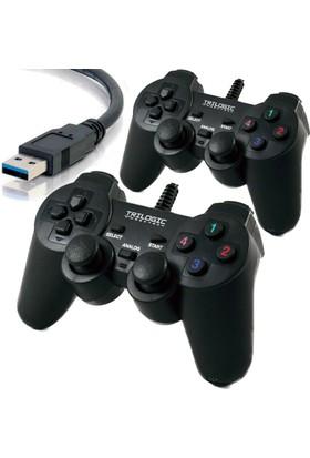TRILOGIC GP8008 2*Dual Çift Analog Gamepad Oyun Kolu Joystick