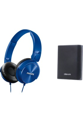 Philips SHL3060BL Kafa Bantlı Kulaklık + Dexim DCA706 6000 mAh Çift USB Powerbank